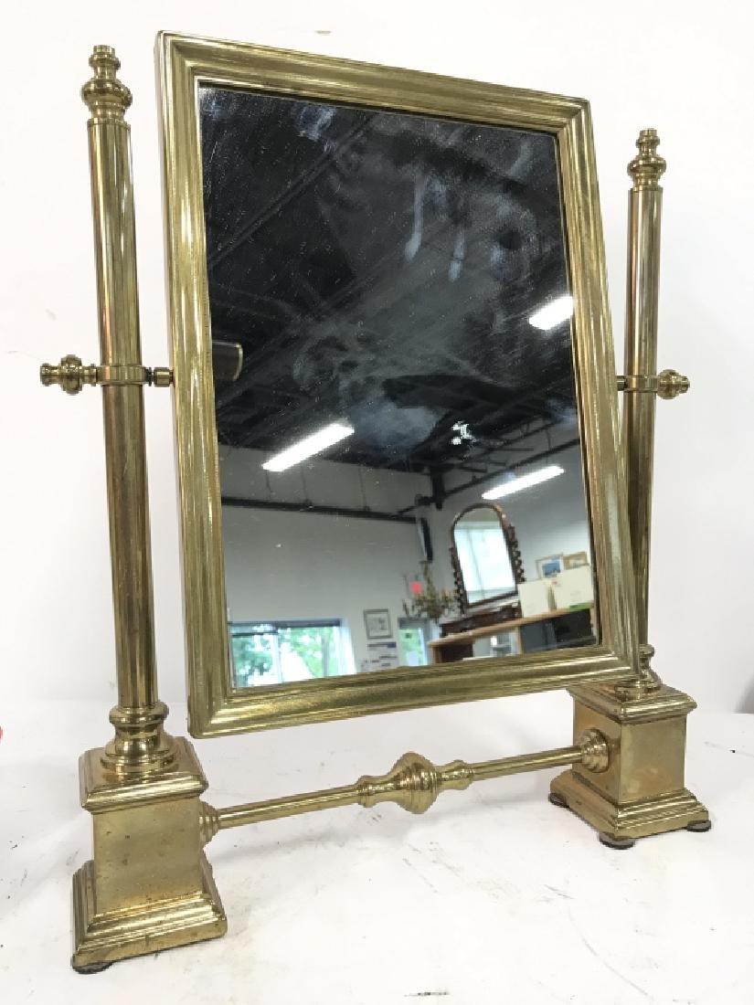 Antique Tilting Metal Vanity Mirror on Stand Brass