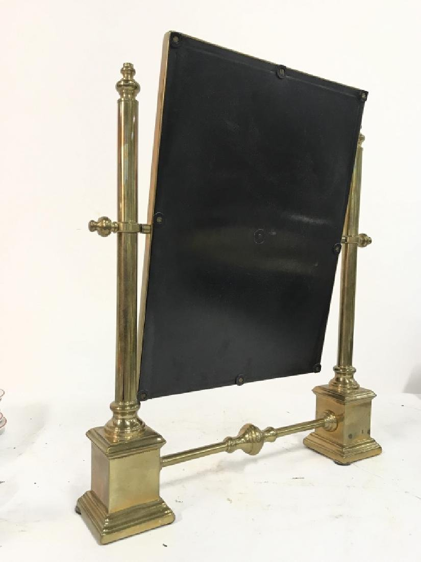 Antique Tilting Metal Vanity Mirror on Stand Brass - 5
