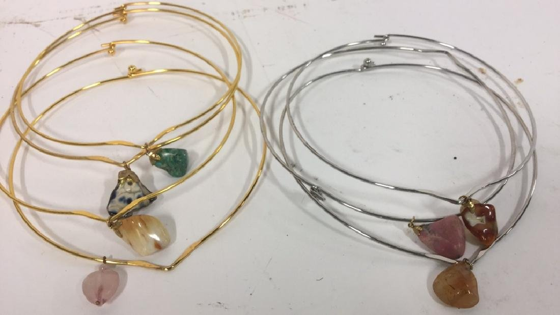 Group 7 Gold & Silver Toned Stone Necklaces