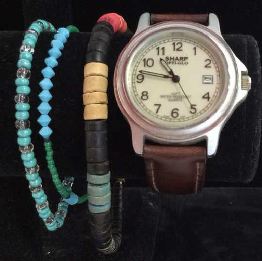 Lot 4 Beaded Bracelets & Watch Jewelry