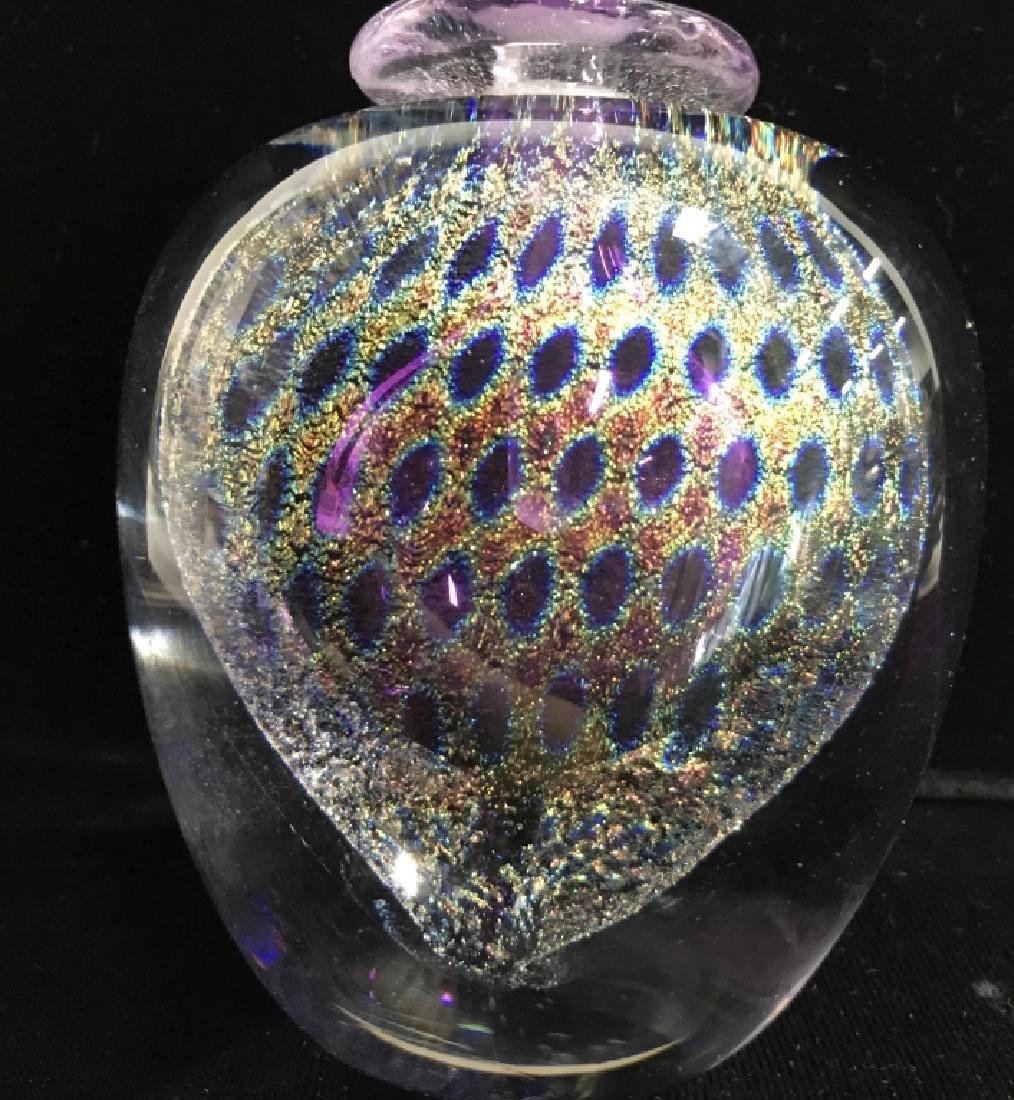 Signed David New-Small Art Glass Perfume Bottle - 2
