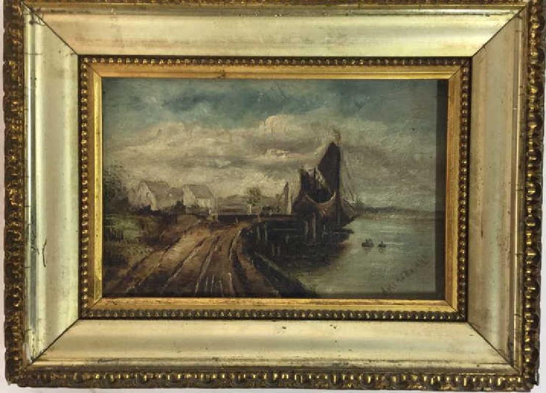 Antique Signed Oil Painting Harbor Scene, Hermann