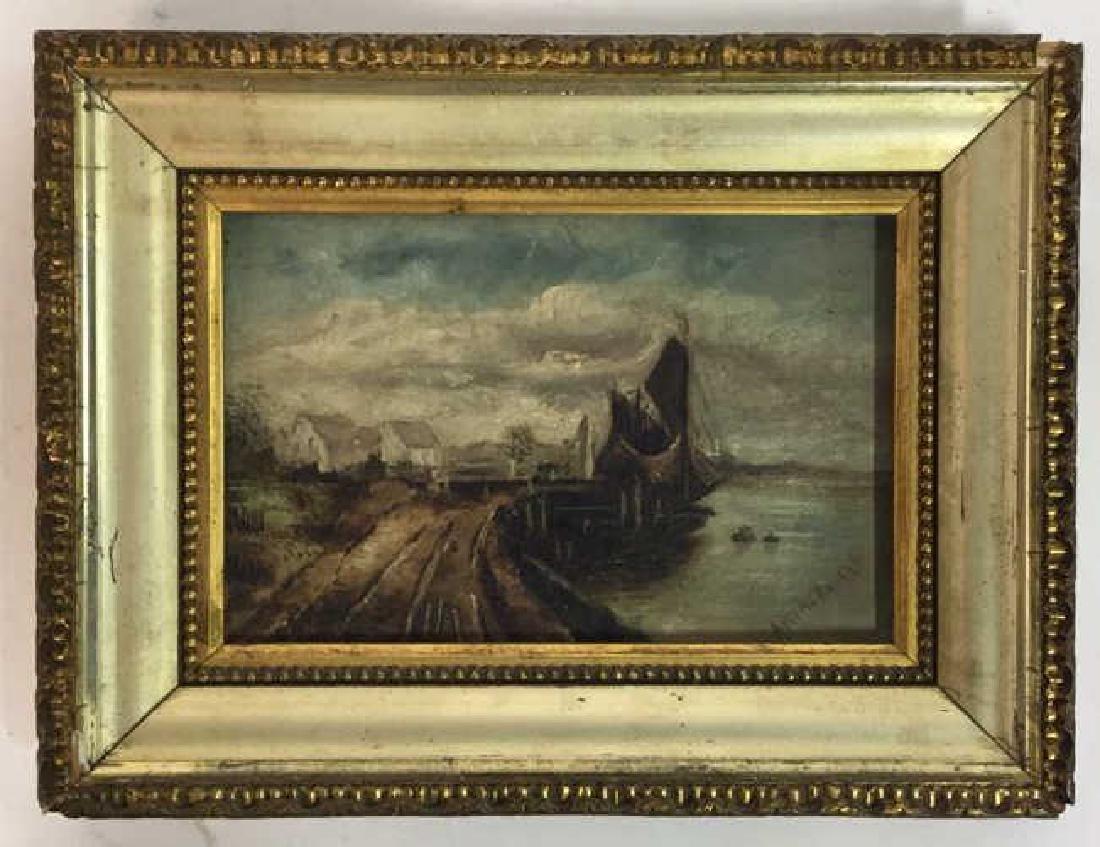 Antique Signed Oil Painting Harbor Scene, Hermann - 2