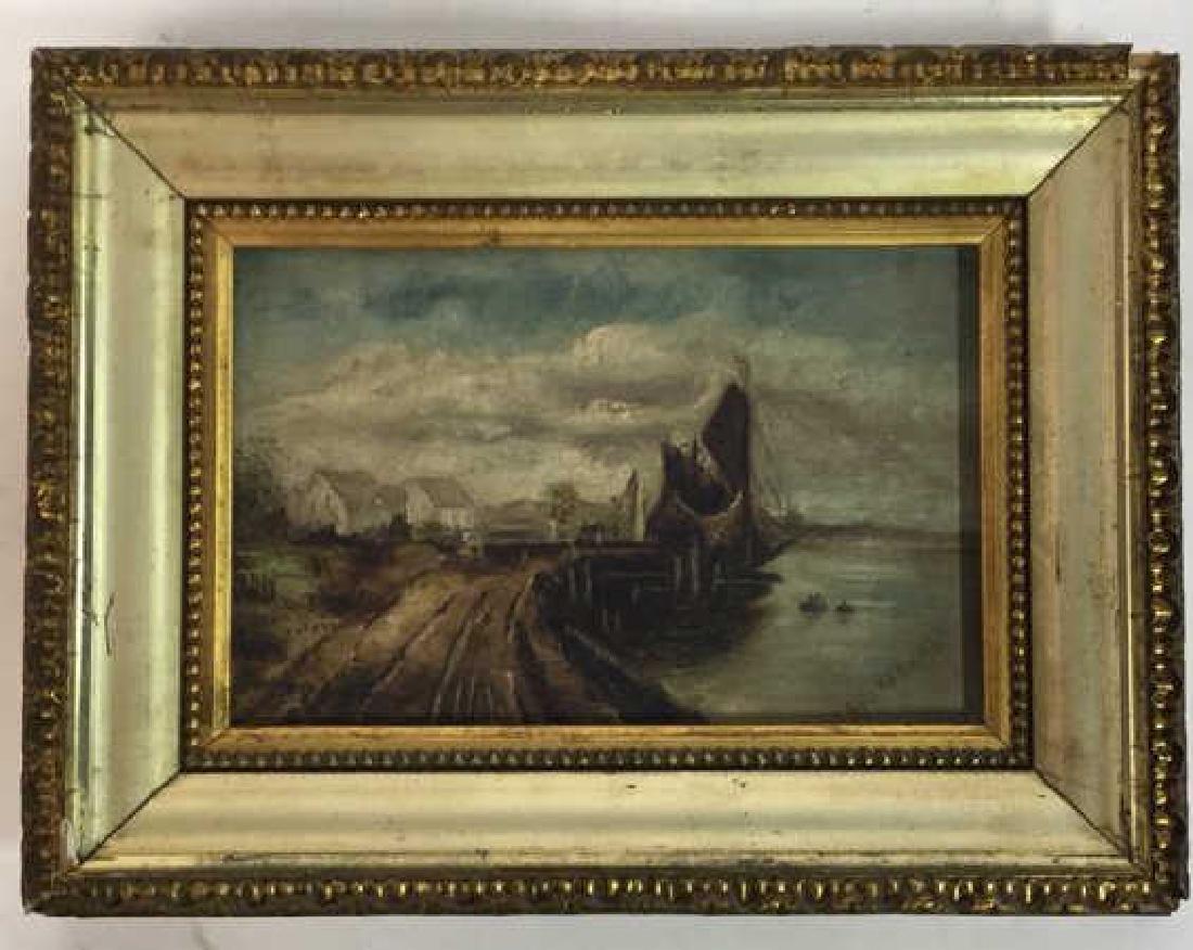 Antique Signed Oil Painting Harbor Scene, Hermann - 3