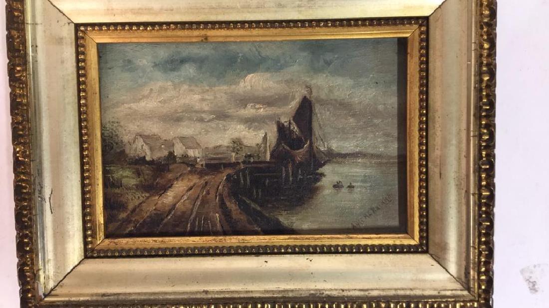 Antique Signed Oil Painting Harbor Scene, Hermann - 4