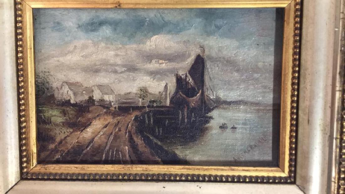 Antique Signed Oil Painting Harbor Scene, Hermann - 5