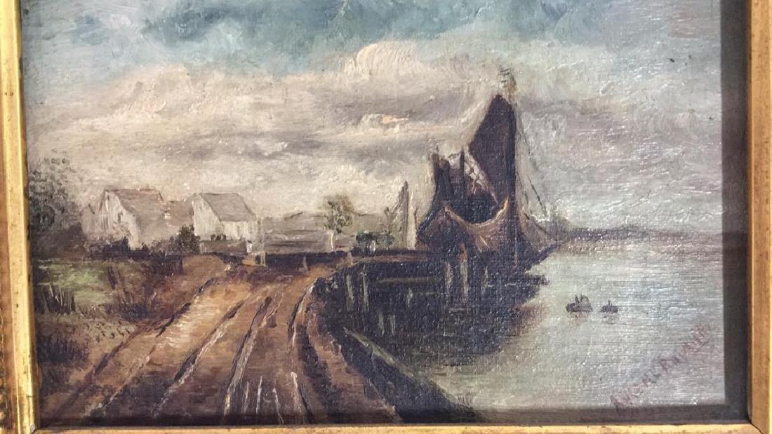 Antique Signed Oil Painting Harbor Scene, Hermann - 6