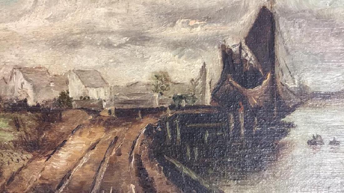 Antique Signed Oil Painting Harbor Scene, Hermann - 7