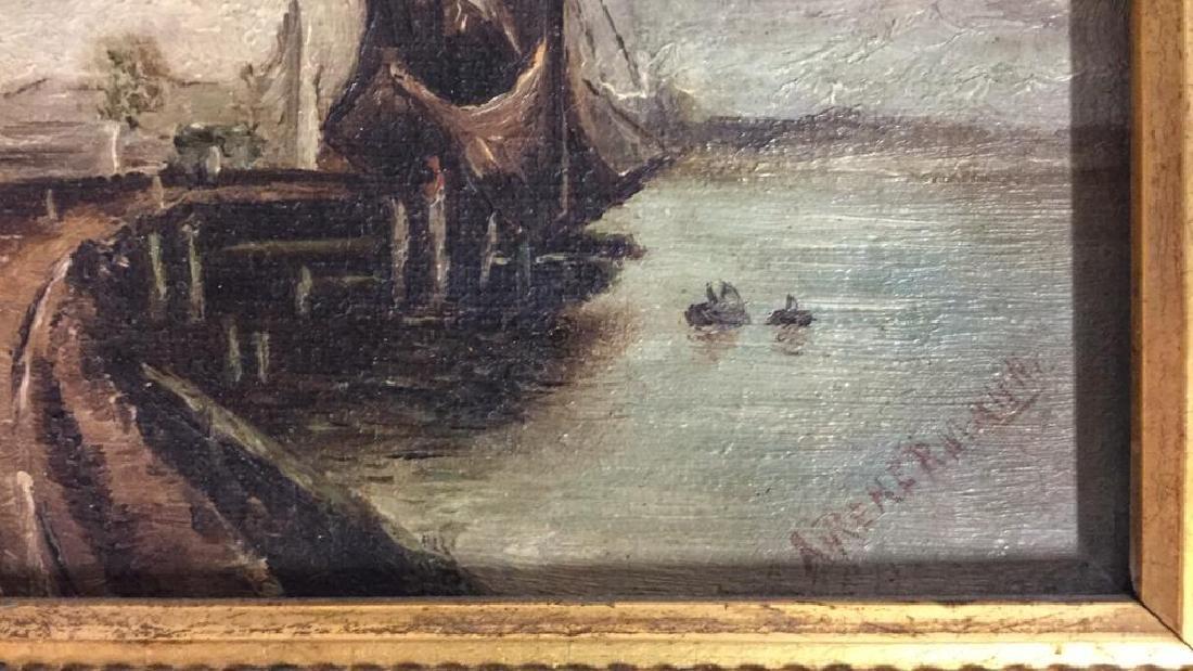 Antique Signed Oil Painting Harbor Scene, Hermann - 8