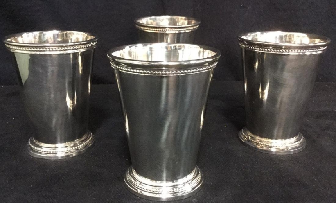 Set Of 4 Silver Plate Mint Julep Cups W Box