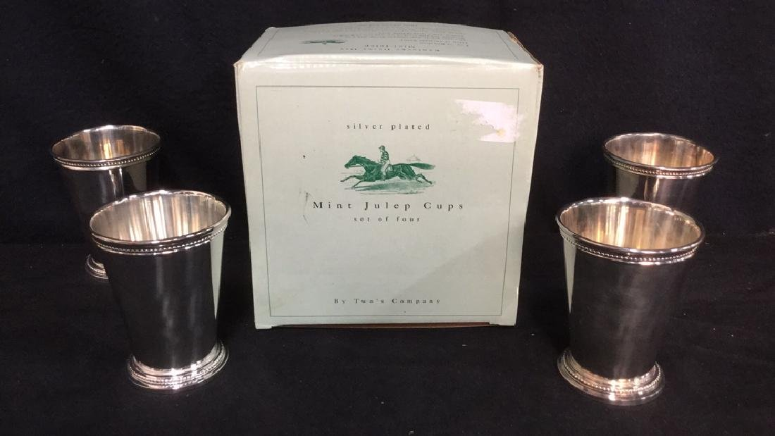 Set Of 4 Silver Plate Mint Julep Cups W Box - 4