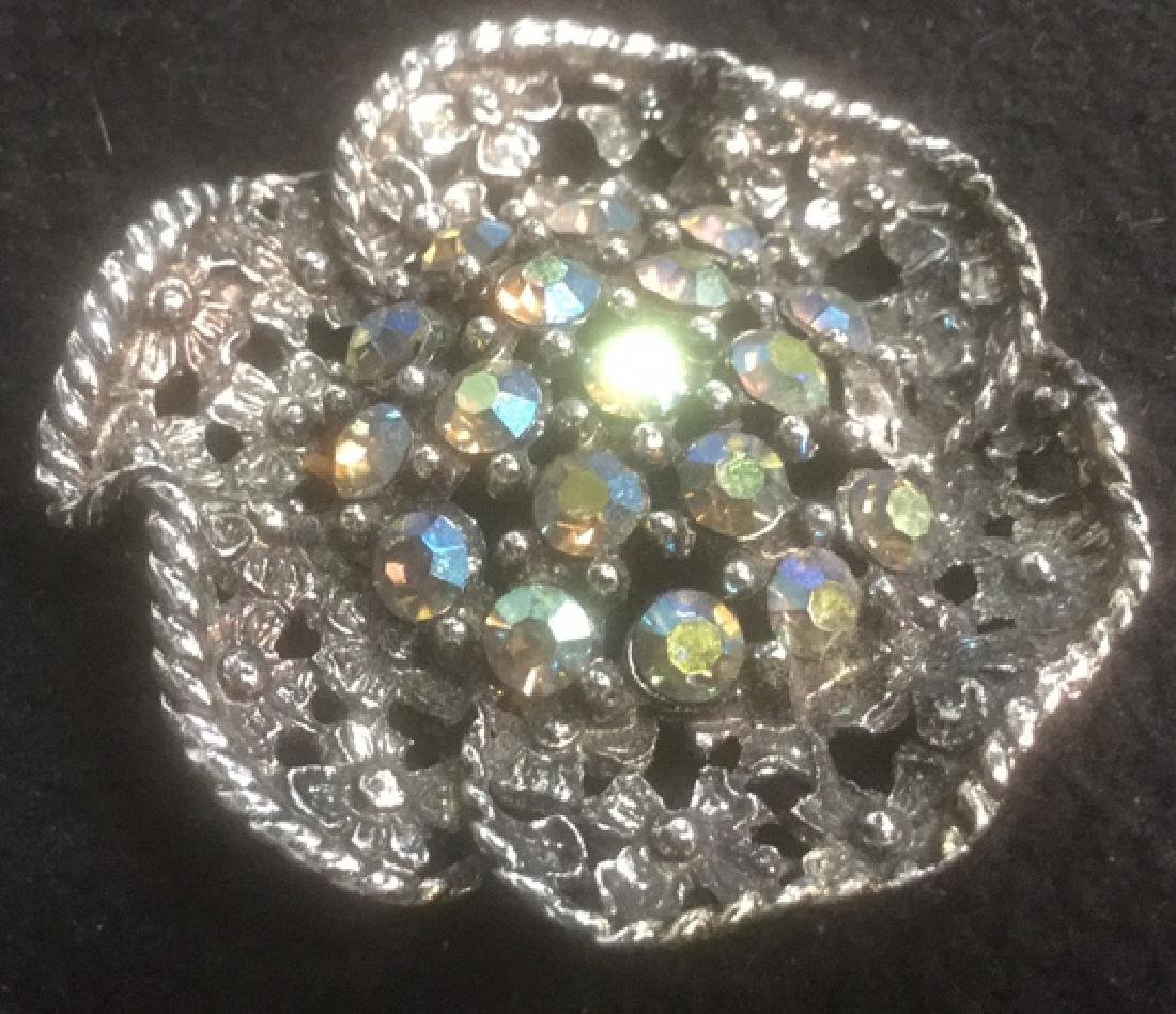 Group 10 Vintage Sparkley Costume Jewelry Brooches - 7