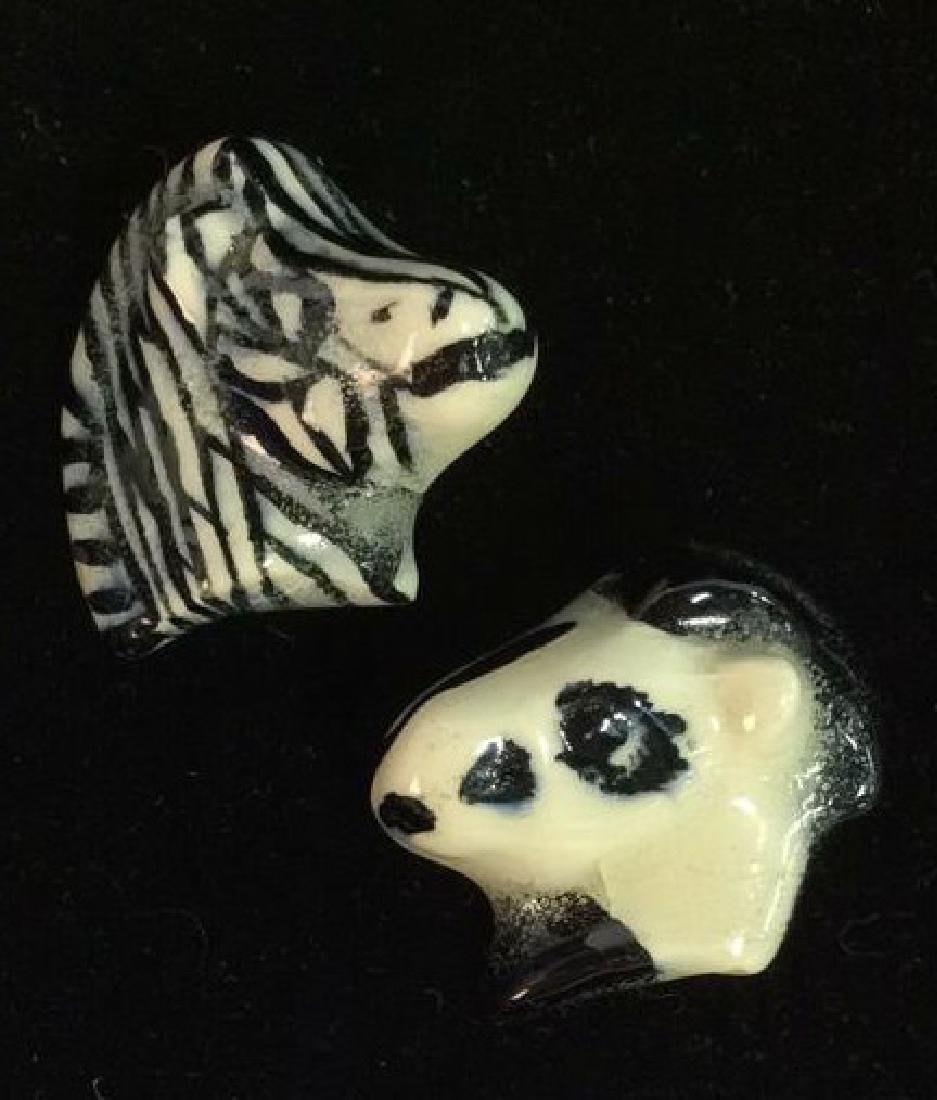Pair Ceramic Horse and Zebra Brooch Pins