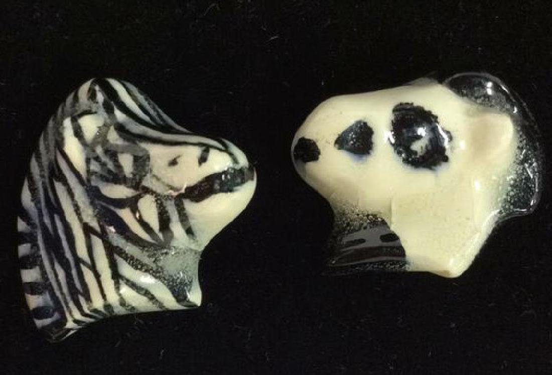 Pair Ceramic Horse and Zebra Brooch Pins - 3