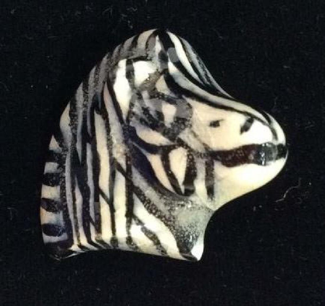 Pair Ceramic Horse and Zebra Brooch Pins - 7