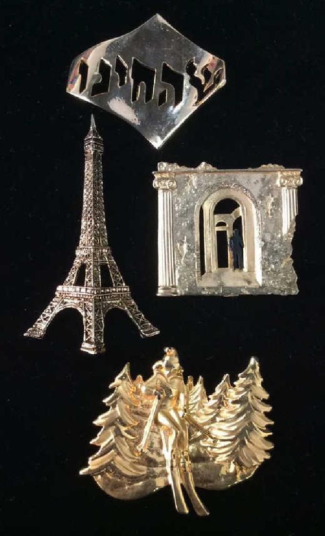 Lot 4 Women's Brooch Pins Jewelry, SIgned