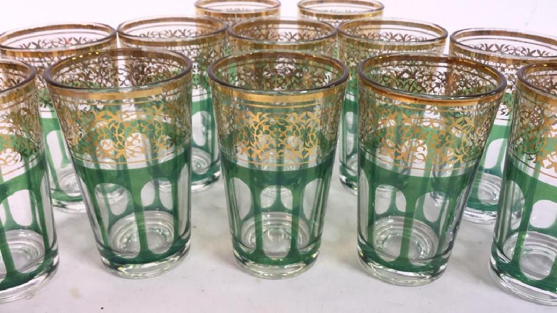 Set 12 Vintage Green Gold Glasses, France - 10