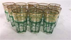 Set 12 Vintage Green Gold Glasses France