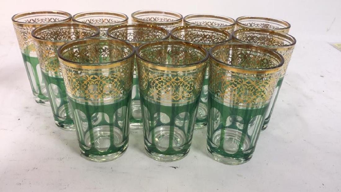 Set 12 Vintage Green Gold Glasses, France