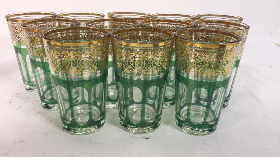 Set 12 Vintage Green Gold Glasses, France - 2