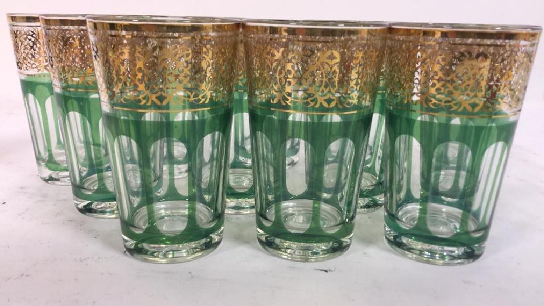 Set 12 Vintage Green Gold Glasses, France - 3