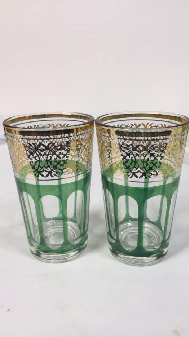 Set 12 Vintage Green Gold Glasses, France - 4