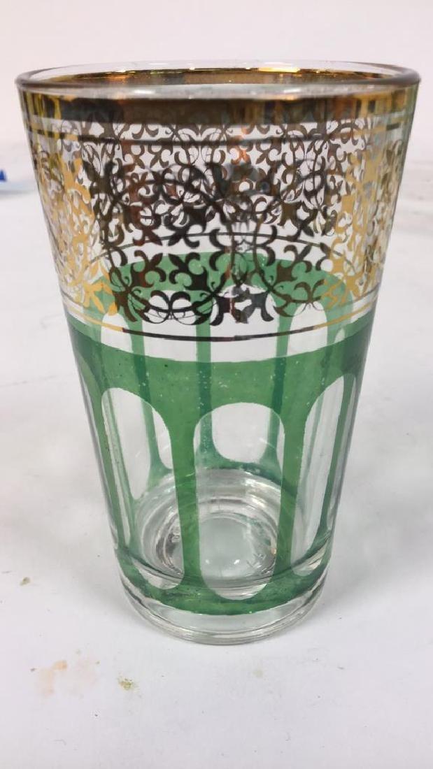 Set 12 Vintage Green Gold Glasses, France - 5