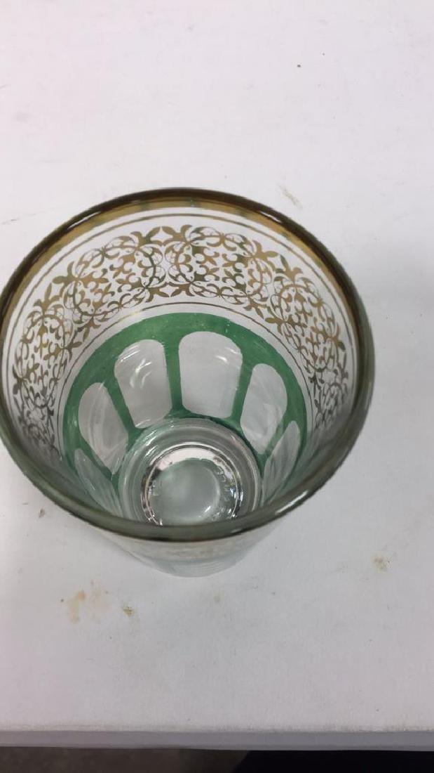 Set 12 Vintage Green Gold Glasses, France - 6