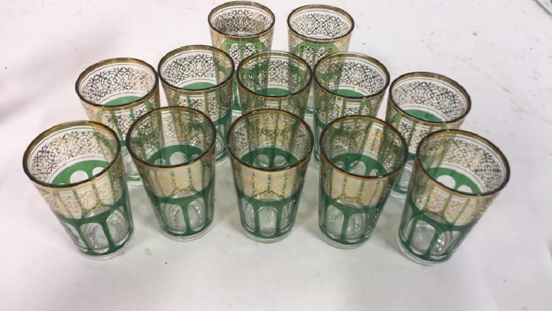 Set 12 Vintage Green Gold Glasses, France - 8