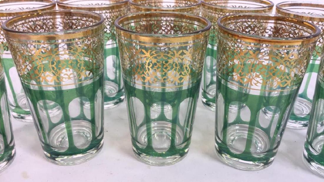 Set 12 Vintage Green Gold Glasses, France - 9