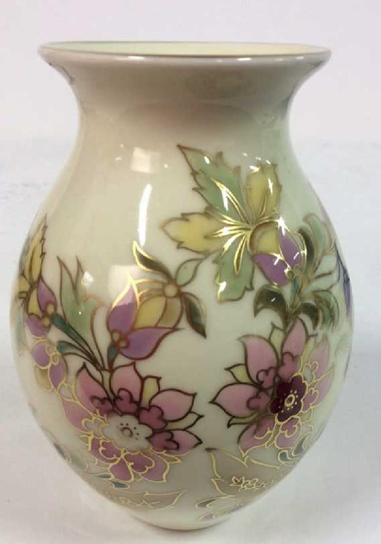 Hungarian Painted Porcelain Vase Vessel - 8