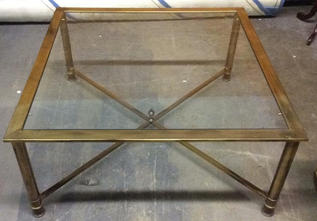 Gold Toned Metal Coffee Table with Glass Top