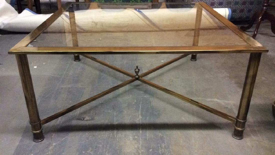 Gold Toned Metal Coffee Table with Glass Top - 2