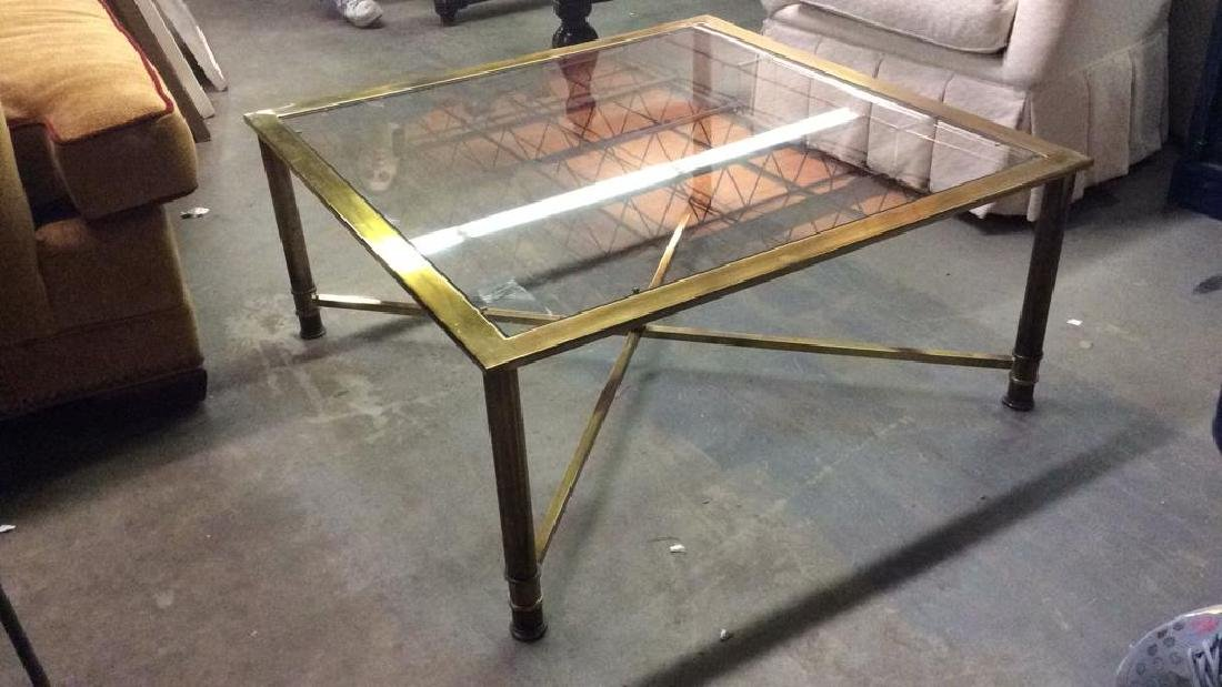 Gold Toned Metal Coffee Table with Glass Top - 3