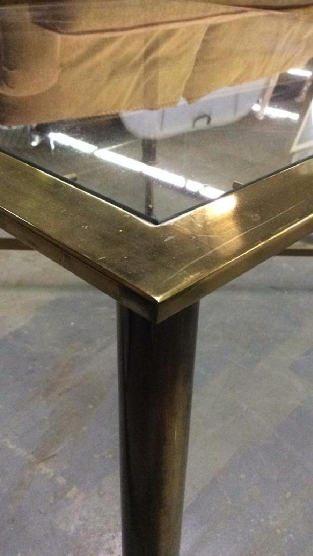 Gold Toned Metal Coffee Table with Glass Top - 4