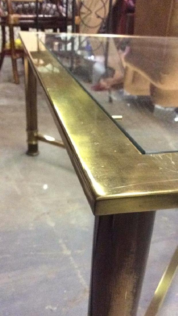 Gold Toned Metal Coffee Table with Glass Top - 5
