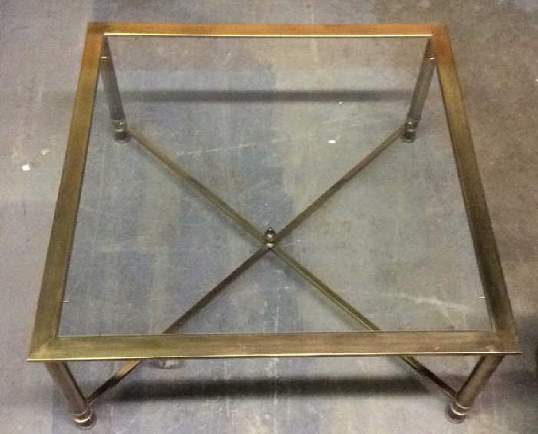 Gold Toned Metal Coffee Table with Glass Top - 7