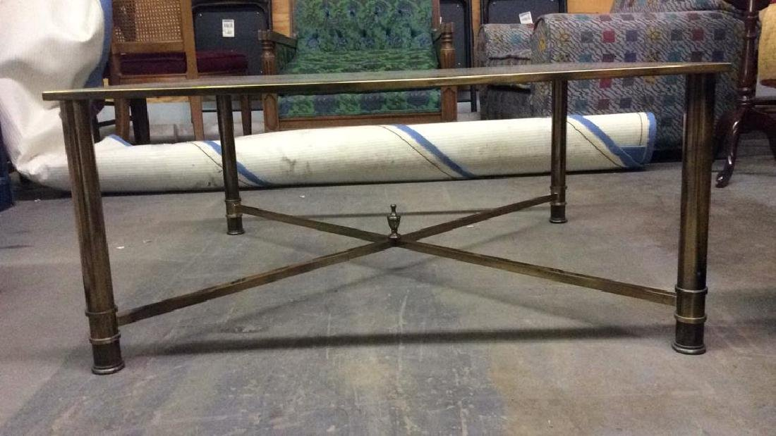 Gold Toned Metal Coffee Table with Glass Top - 8
