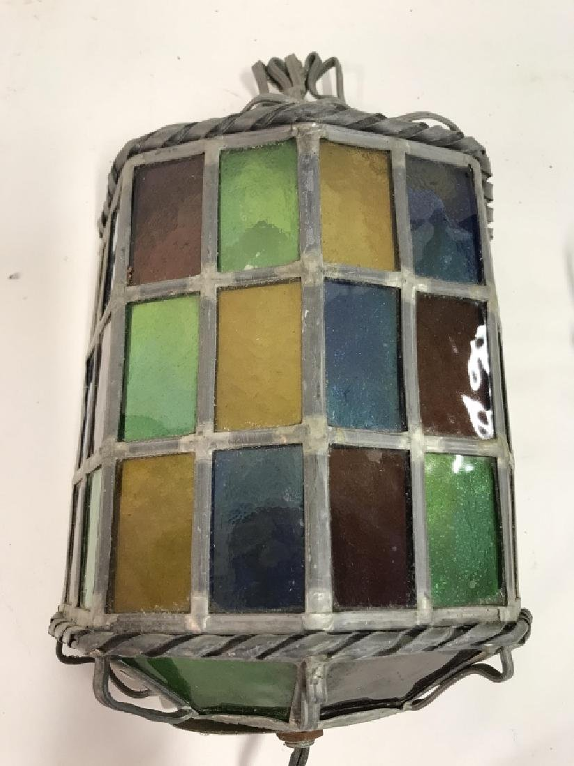 Stained Glass W Metal Electric Light Wall Sconce