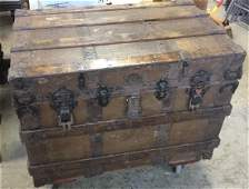 Antique Wood Canvas And Metal Steamer Trunk