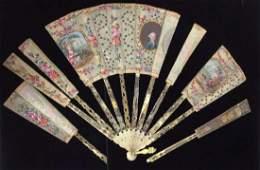 Antique Victorian Ladies Fan W Bone Panels