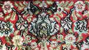 Vintage Handmade Floral Detailed Silk Rug