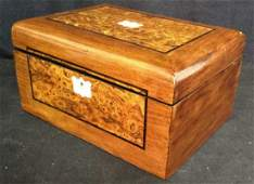 Burled Wood Inlay Shell Jewelry Box