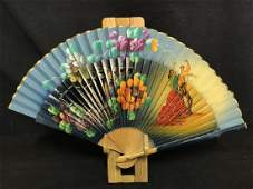 Vintage Ladies Hand Painted Fabric And Wood Fan