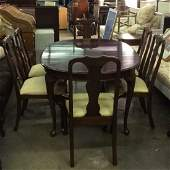 Set 9 Carved Wooden Dining Table  Chairs Set