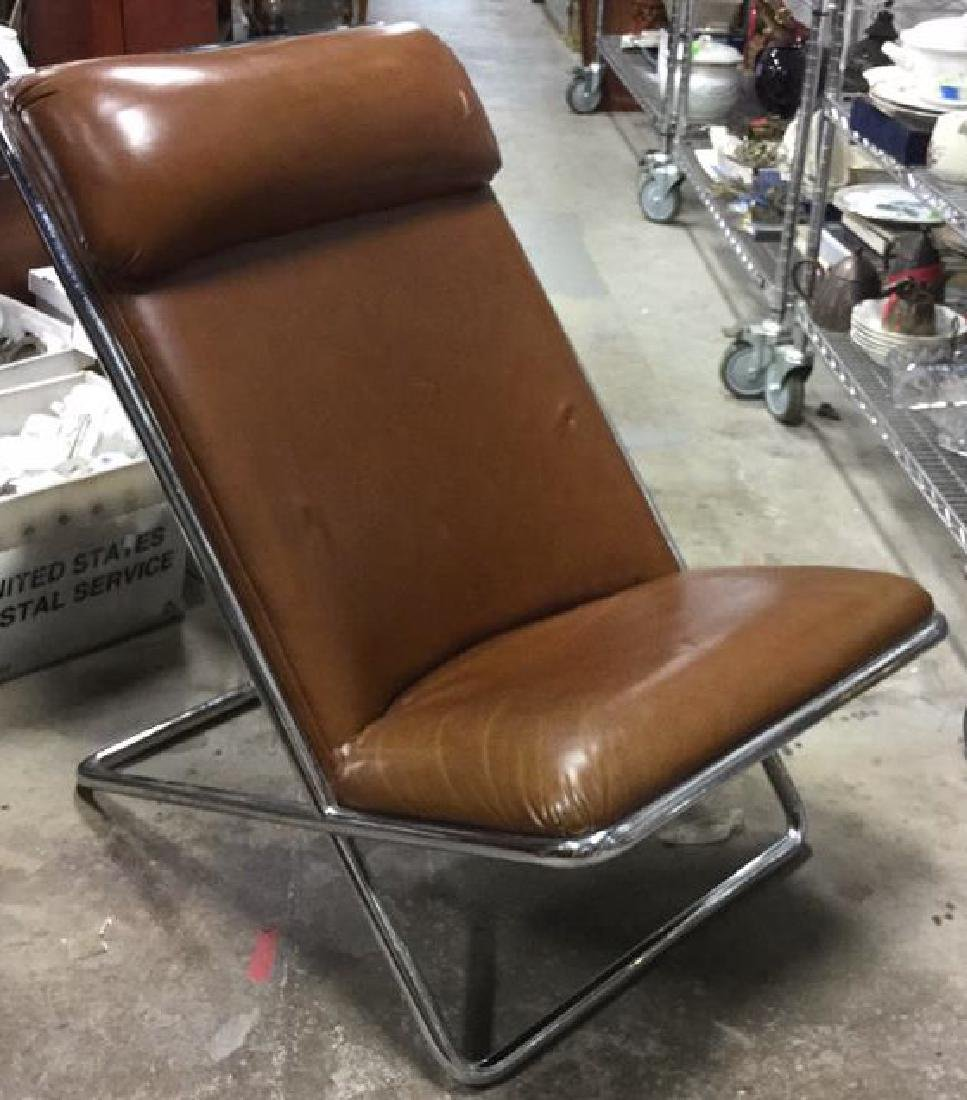 Mid-Century Modern Chrome and Leather Chair