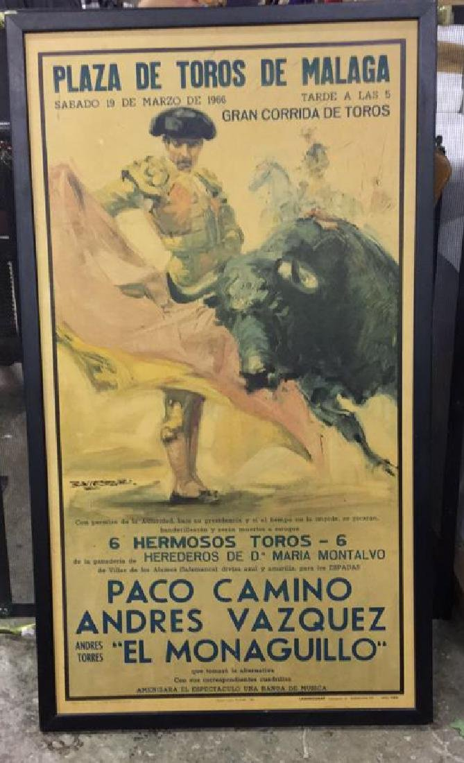 Framed Vintage Bull Fight Ad Print