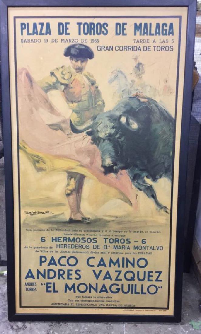 Framed Vintage Bull Fight Ad Print - 2