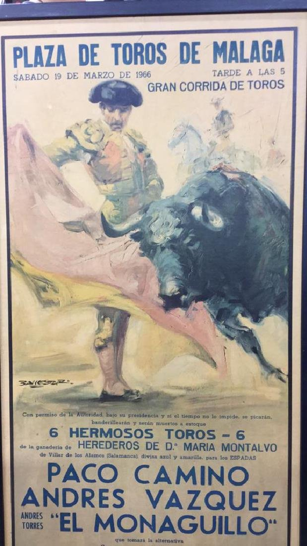 Framed Vintage Bull Fight Ad Print - 3