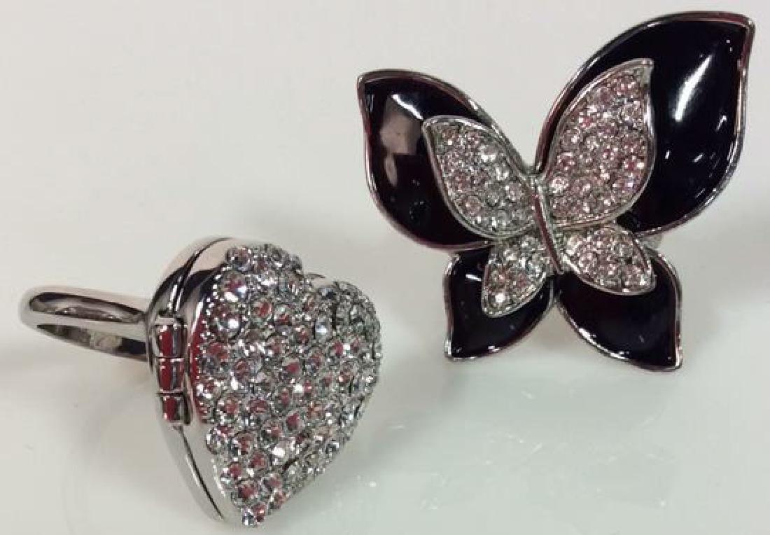 Lot 2 Butterfly & Heart Rhinestone Rings